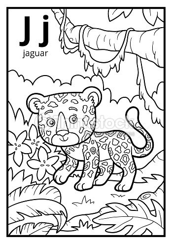 Libro Para Colorear Alfabeto Descolorido Letra J Jaguar Arte