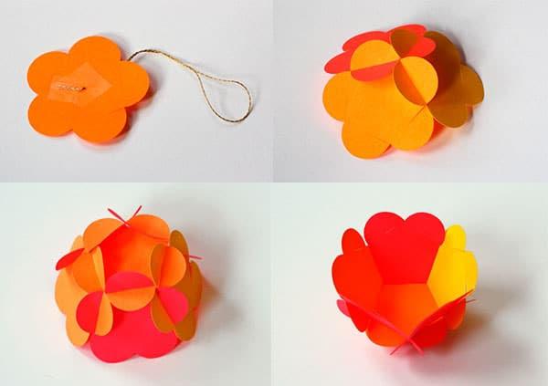 paso a paso para hacer bolas de navidad de papel
