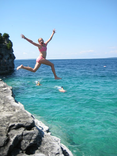 cliff jumping at the Grotto, Georgian Bay
