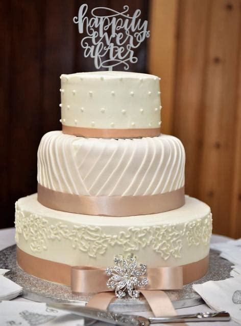 Elegant Ivory 3 Tier Wedding Cake with Happily Ever After