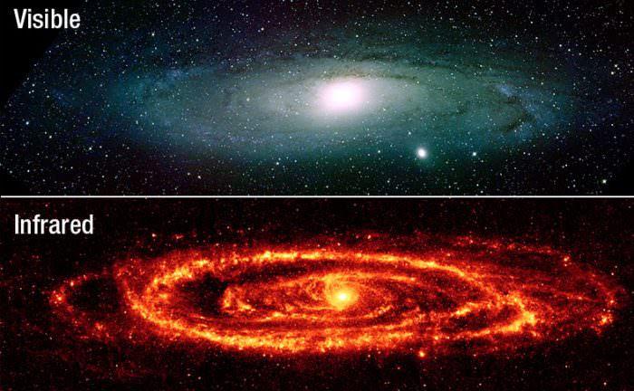 The Andromeda Galaxy, viewed using conventional optics and IR. Credit: Kitt Peak National Observatory