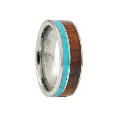Turquoise Hawaii KOA Inlay tungsten Wedding rings for men