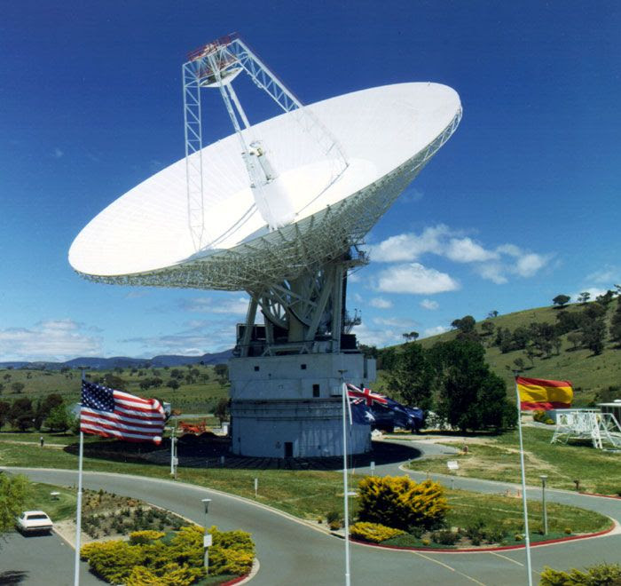 The 70-meter radio telescope, known as DSS-43, at NASA's Canberra Deep Space Communications Complex in Tidbinbilla, Australia.