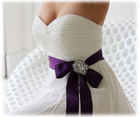 Elegant Purple Wedding Dress Sash with Rhineston Center