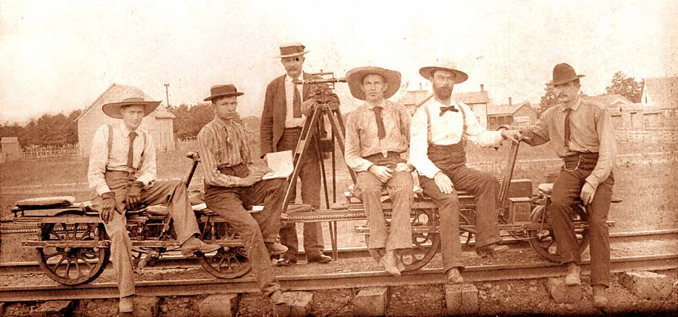 1890s photo of surveyors on a handcar