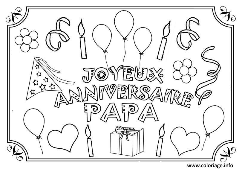 Coloriage Joyeux Anniversaire Papa Fete Des Peres Jecoloriecom