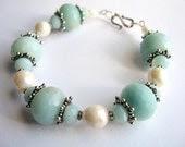 Aqua Gemstone Bracelet, Amazonite and Pearl Jewelry