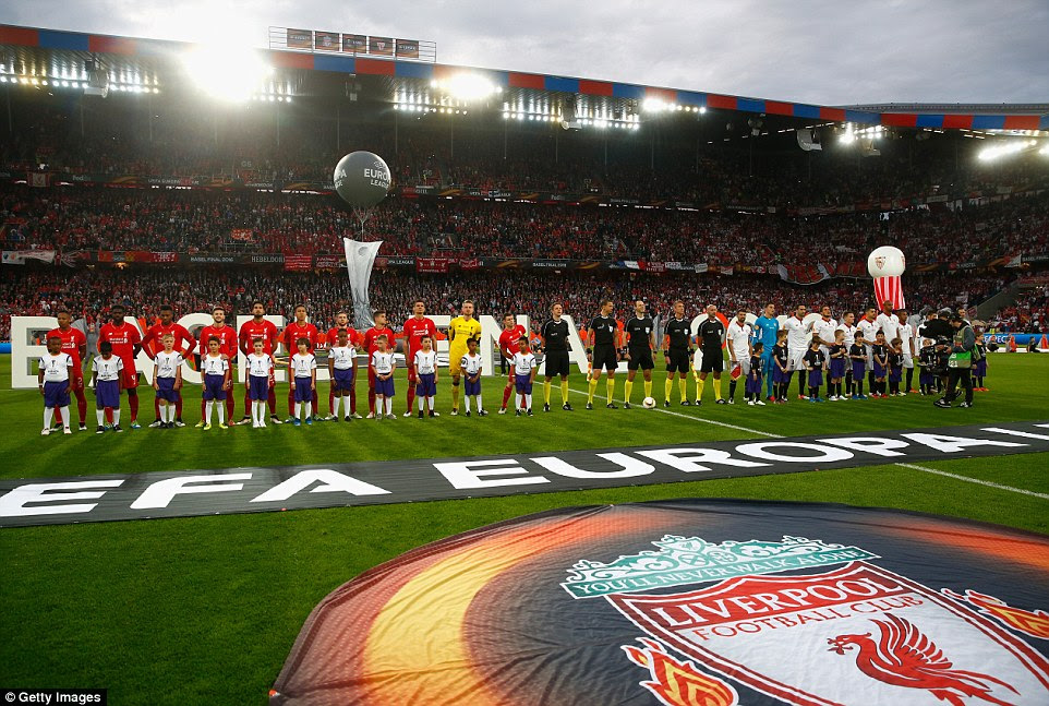 Both sides line up at the St Jakob-Park stadium in Basle ahead of the 2016 Europa League final on Wednesday night