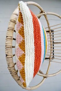 wood & wool knitted harlequin pillow 032