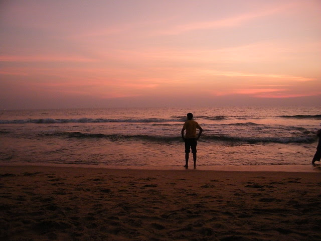 Accepting the invitation by sea, Varkala Beach, Kerala