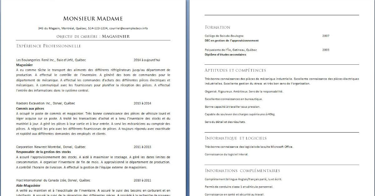 resume format  modele de cv gratuit magasinier