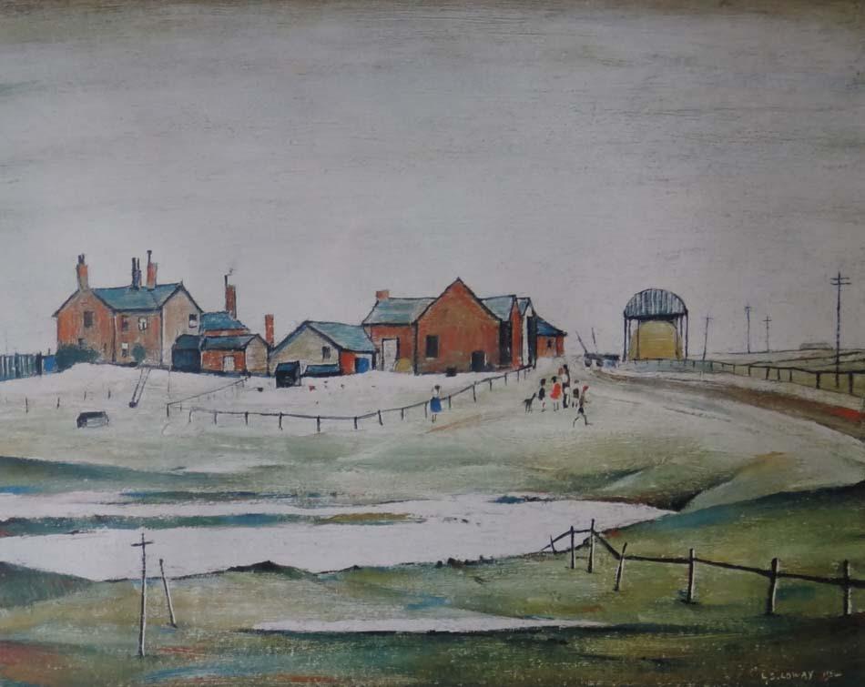 L.S.Lowry, Lowry,landscape with farm buildings, print