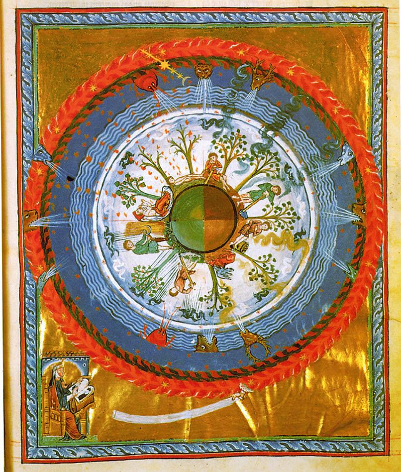 The seasons in turn, from a manuscript of Hildegarde of Bingen/