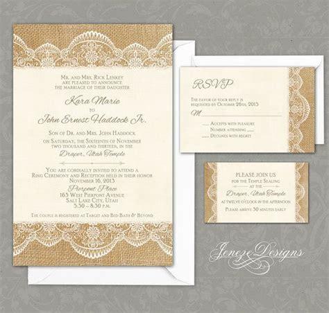 Burlap and Lace Wedding Invitation Set by Jeneze on Etsy