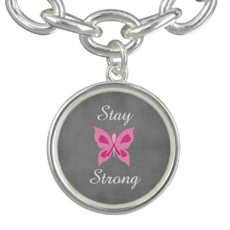 Inspirational Pink Ribbon Butterfly with Quote Bracelet