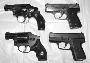 Sometimes it's easier, and even more efficient, to carry two small handguns of adequate power instead of one large one. Left: 20 ounce Model 640-1 above, 15 ounce Model 442 below, both J-frame 5-shots by Smith & Wesson. Right: 22 ounce all steel Kahr MK9 above, 14 ounce polymer frame MK9 below, both 7-shot 9mms.