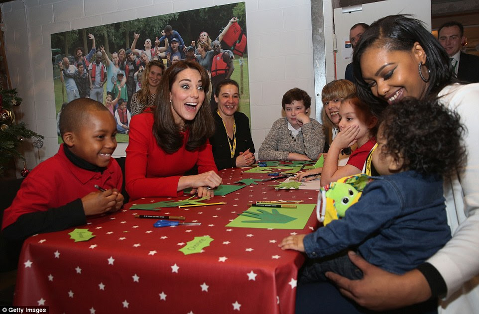 The Duchess joined groups of families in Festive activities designed to help pupils reflect on the positive progress in their social relationships and communication skills