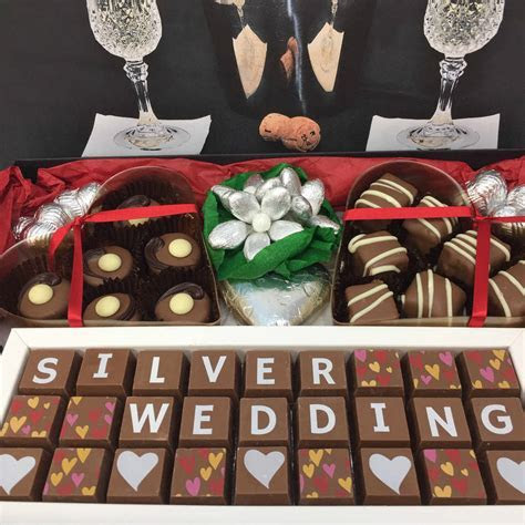 large personalised silver wedding anniversary hamper by