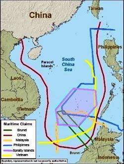 Bản đồ khu vực tranh chấp biển Đông - Trung quốc- Brunei- Malaysia- Philippines và Việt Nam. Source US -DOD map