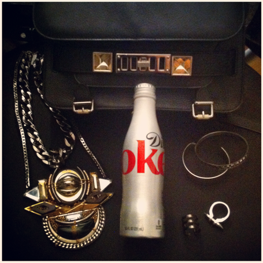 LE FASHION BLOG INSTAGRAM DIET COKE GLAMOUR PARTY ACCESSORIES SACHIN BABI NECKLACE PROENZA SCHOULER PS11 BAG NEW BOTTLE DESIGN LADY GREY RING REPOSSI SILVER CUFF STUDDED BANGLE PLUKKA SPIKE BULLET RING