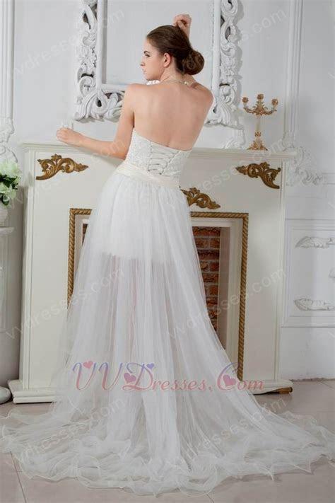 Unique Corset High Low Detachable Skirt Beach Bridal Gowns