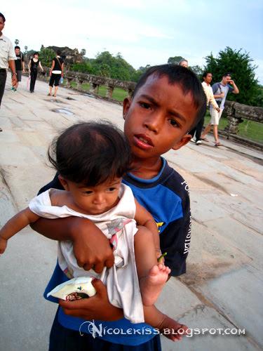 kid and baby at angkor