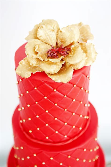 Red & Gold Wedding Cake   Food   Pinterest   Red gold