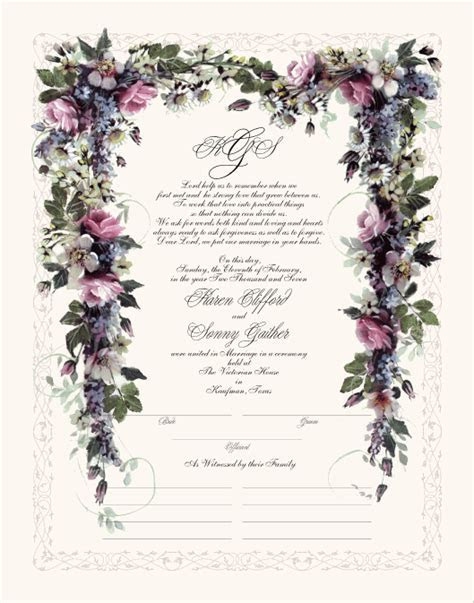 Pink Roses Wedding Certificate Marriage Certificate