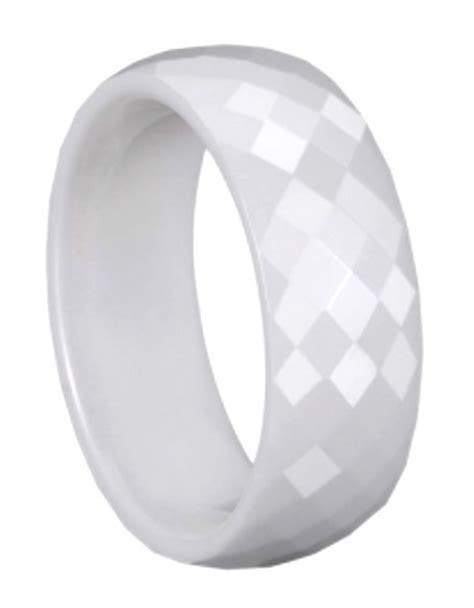 MEN 8mm Faceted White CERAMIC WEDDING BAND Comfort Fit
