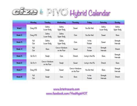 cize piyo hybrid calendar fitness joy workout cize