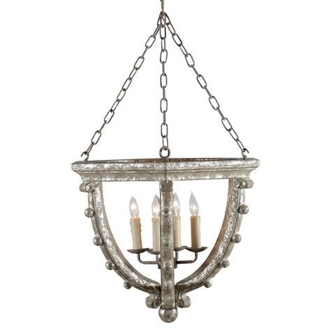 Branson French Country Antique Silver Leaf 4 Light Open Pendant   Kathy Kuo Home