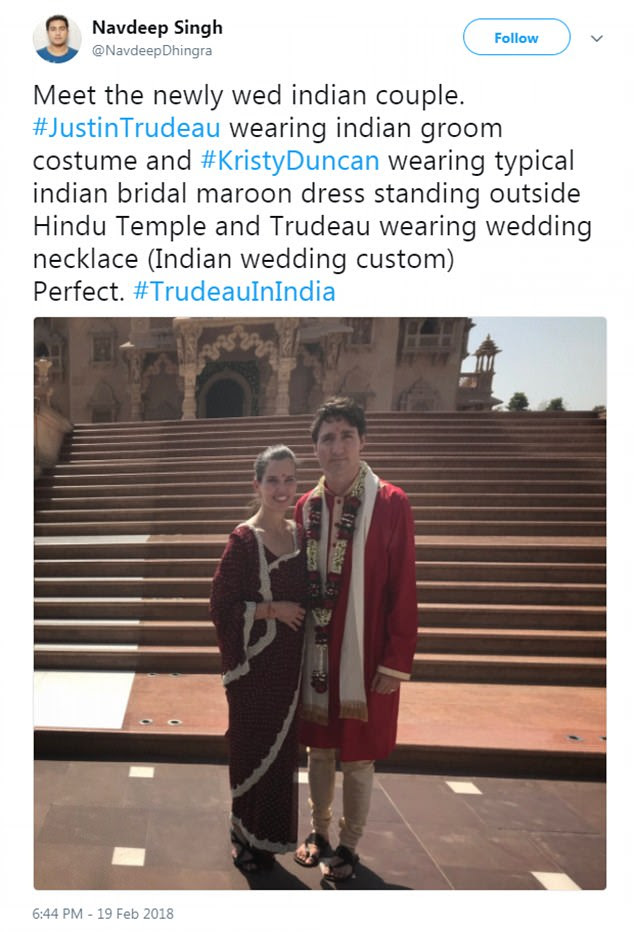 Many observers suggested that it seemed Trudeau was attending a wedding from the way he was dressed (pictured here at one of Ghandi's former homes on Monday)