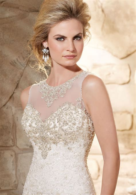 beaded bodice  lace  soft satin bridal gown style