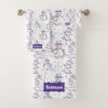 Purple Hand Drawn Jolly Xmas Snowman Bath Towel Set