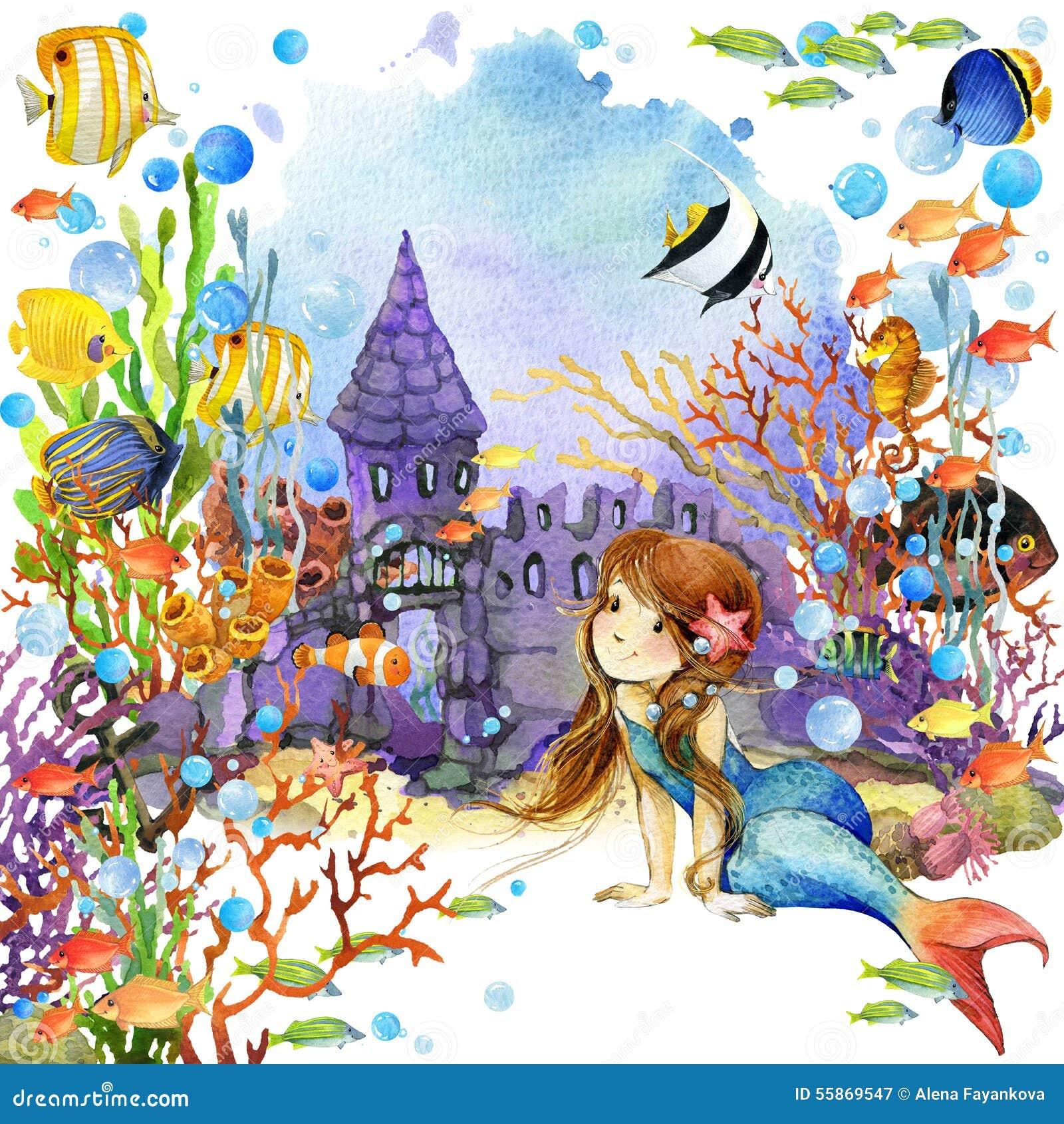 underwater world mermaid fish coral reef watercolor illustration children 55869547