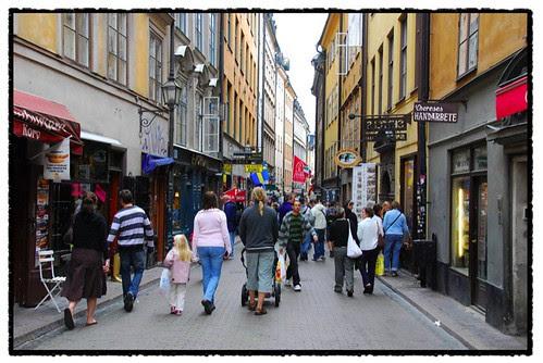gamla stad with tourists