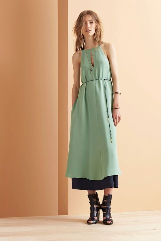 Le Fashion Blog Maiyet Resort 2015 Collection Tear Drop Green Sleeveless Dress Contrast Cut Out Ankle Bootie Sandals