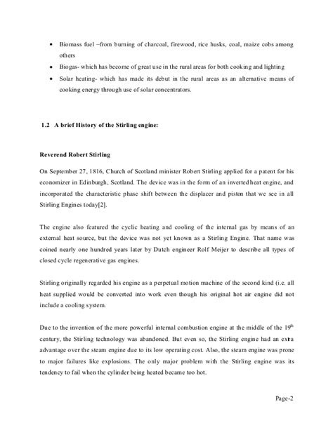 Seminar report on stirling engine