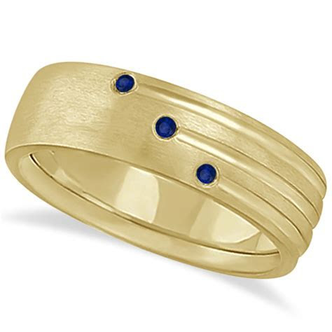 Mens Shooting Star Blue Sapphire Wedding Ring Band 14k