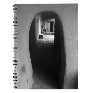 Adobe Passageway: Black & White photo of Taos, NM Spiral Note Books