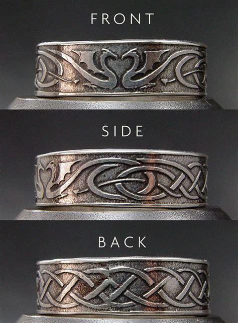 Dragon Wedding Ring Set   Silver Celtic Wedding Bands