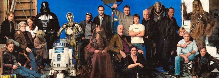 The cover spread of the January 2005 issue of Vanity Fair...out in newsstands on January 11th.  The cover is a group portrait of all the main actors from both Star Wars trilogies.