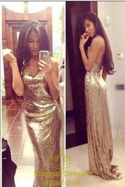 Glitter Gold Sequin Cross Over Open Back V Neck Long Prom