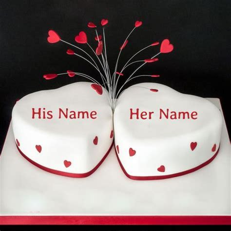 Write Name on Happy Anniversary Heart Cake Online.Print