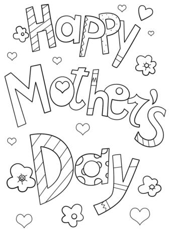 Dibujo De Feliz Del Día De La Madre Para Colorear Dibujos Para