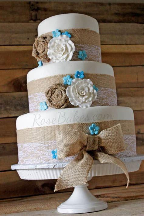 Burlap & Lace Rustic Wedding Cake   Rose Bakes