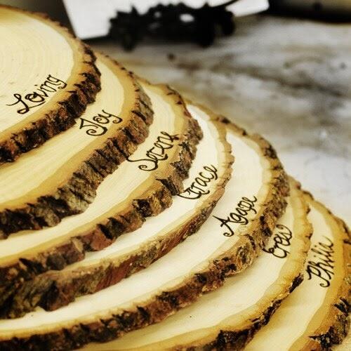 Wood Slice Chargers: Custom Wedding Accessories: Medium Rustic Wood Tree Slice