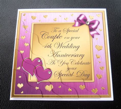 Special Couple 4th Wedding Anniversary Card   4 Colours   eBay