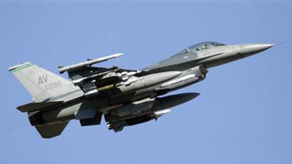 File photo of a F-16 jet fighter flying over the NATO airbase in Aviano