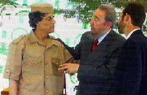 Martyred Libyan leader Col. Muammar Gaddafi speaking with former Cuban President Fidel Castro. Cuba and Libya have faced the wrath of US imperialism. by Pan-African News Wire File Photos